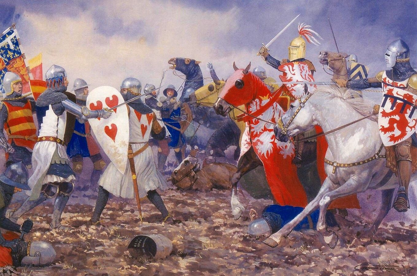 battle of crecy painting of graham turner the battle of