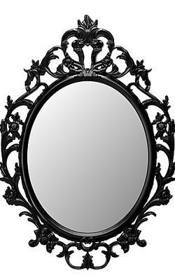 New Ikea Ung Drill Black Oval Mirror Vintage Or Shabby Chic