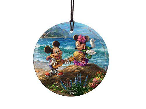 Thomas Kinkade Disney Mickey Minnie Hawaii StarFire Prints Glass ...