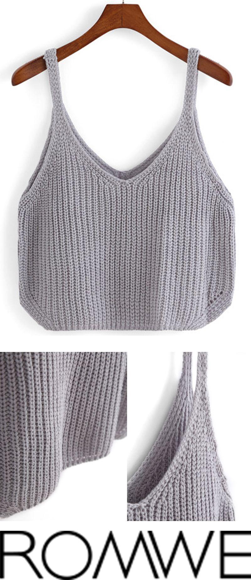 Grey Spaghetti Strap Knit Cami Top | Knitspiration | Pinterest ...