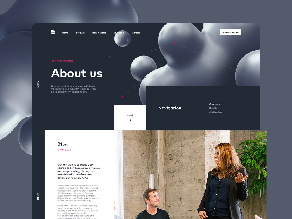 About us page design for AI Startup