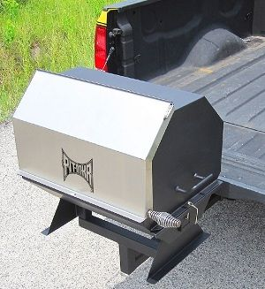 Portable charcoal/wood grill mounted on a trailer hitch ...
