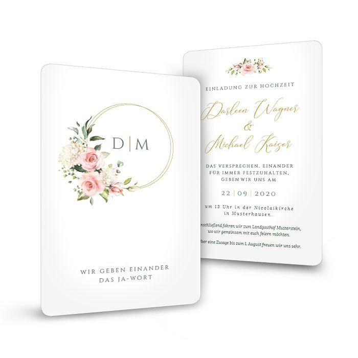 romantische Hochzeitseinladung mit Blüten und Goldreif