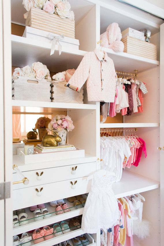 Children's closets come with features to get kids organized, including slide-out laundry hampers, extra hooks and shelves that adjust as kids grow. Knobs and other accents personalize the closets.