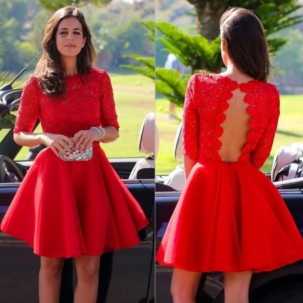 Red Long Sleeve Dress with Embroidered Lace Bodice
