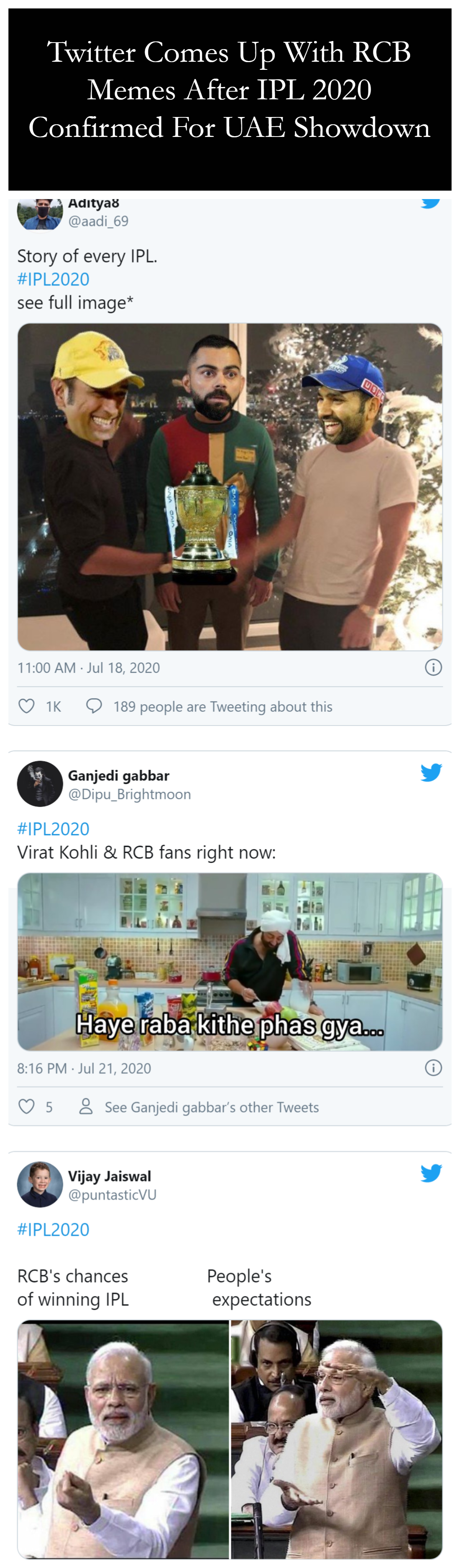Twitter Comes Up With RCB Memes After IPL 2020 Confirmed