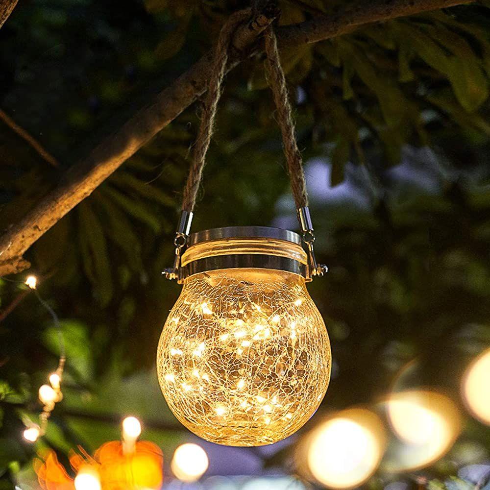 Qomolo Solar Laterne Garten Solar Gartenleuchte Led Zum Aufhangen Lampe Ip65 Wasserdicht Solarlampe F Mason Jar Solar Lights Solar Lanterns Solar Lights Garden