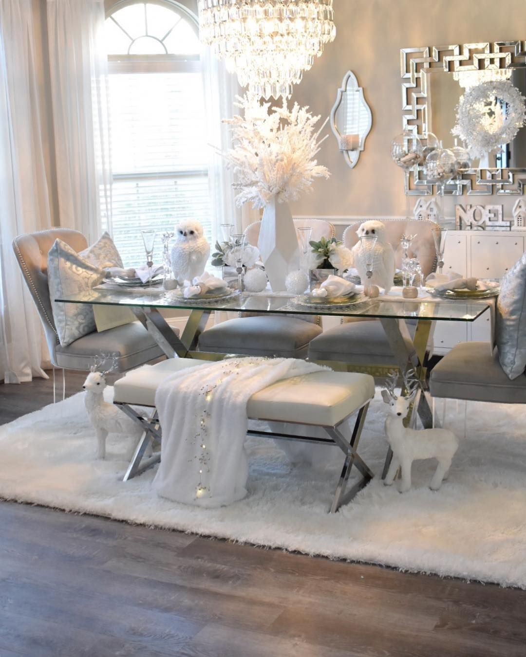 Happy Sunday Once I Got This Super Soft White Shag Rug For My Dining Room From Wellwovenrugs Z Dining Room Rug Dining Room Table Decor Dinning Room Decor