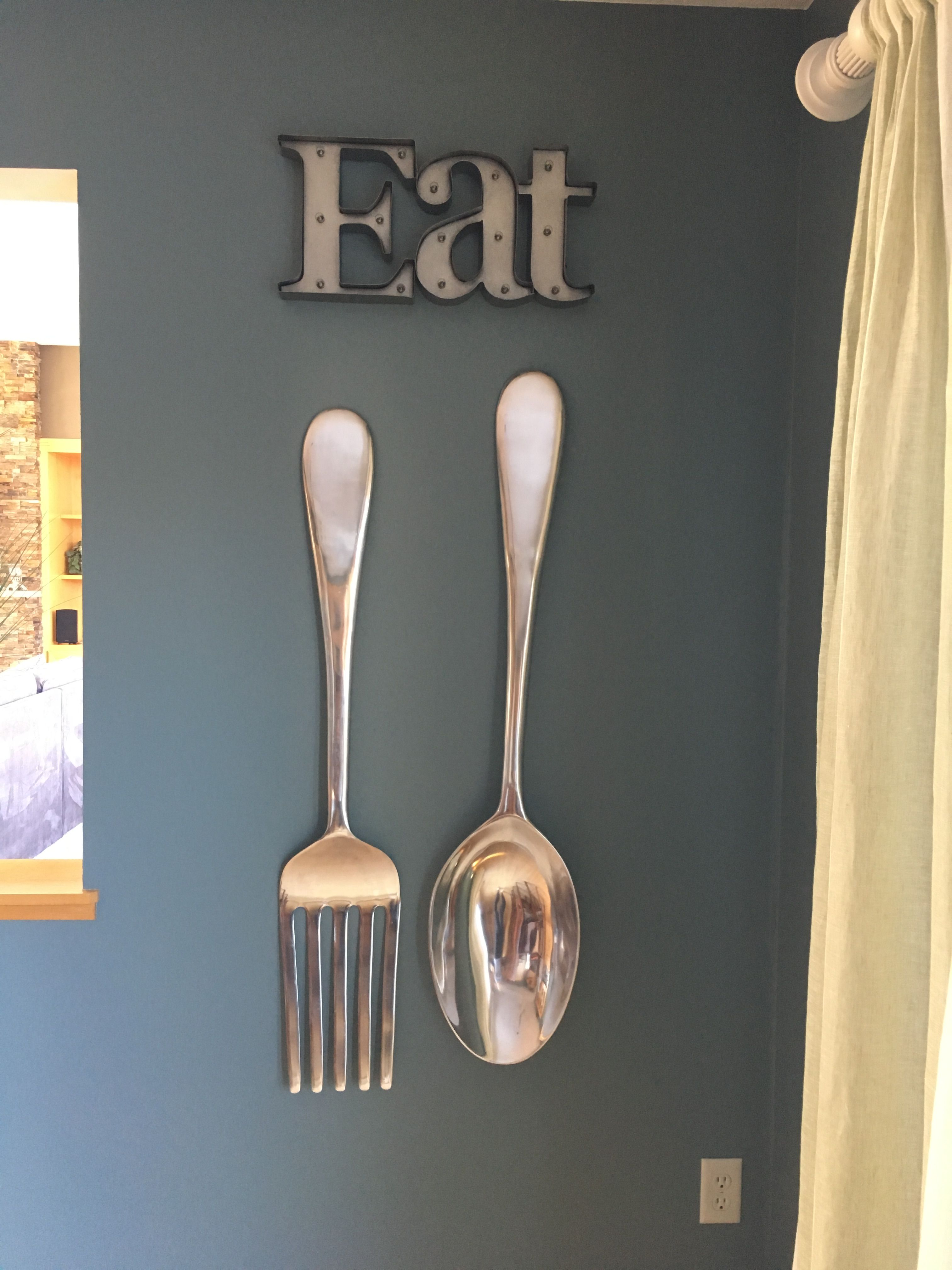 Kitchen Decorations Spoon And Fork From Pier 1 And Eat Sign From Michael S Kitchen Wall Decor Country Kitchen Wall Decor Kitchen Wall Design