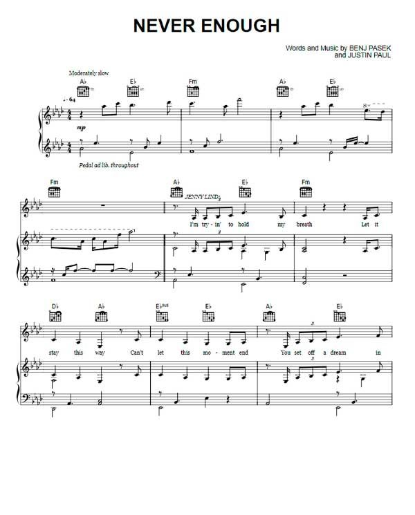 Am A Rider Song Download: Never Enough Sheet Music The Greatest Showman