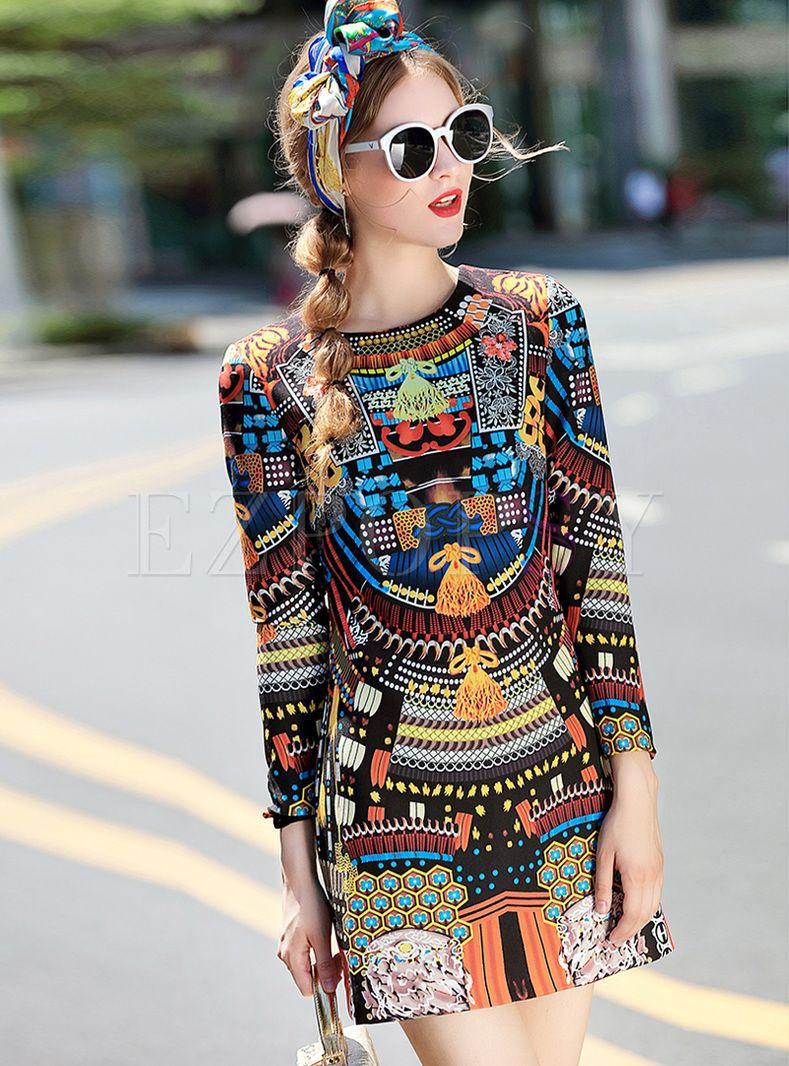 Multicolor Print Mini A Line Dress Short Mini Dress Vintage Print Dress Fashion [ 1066 x 789 Pixel ]