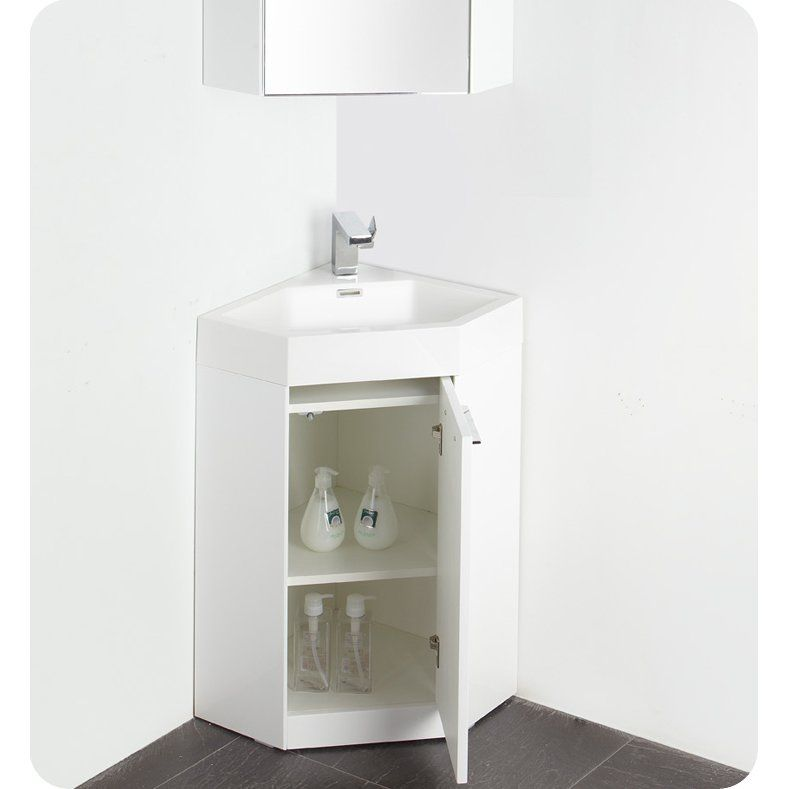 Lucida Single Coda Modern Corner Bathroom Vanity Set Tiny - Corner bathroom vanity set for bathroom decor ideas