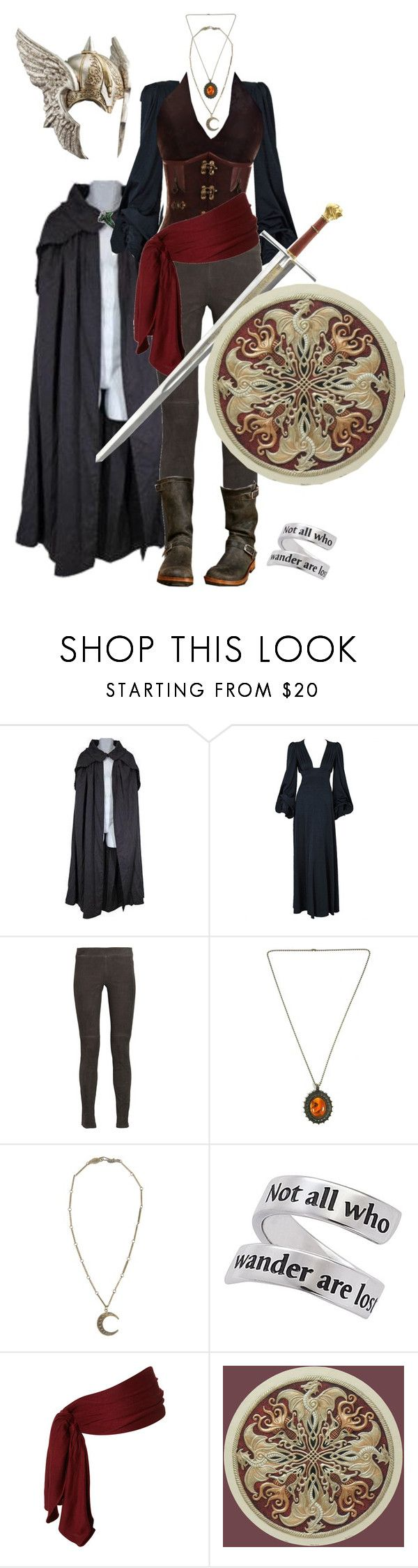 """""""The Female Warrior"""" by ltspork ❤ liked on Polyvore featuring Council, Biba, Vince, Alkemie, S.W.O.R.D., corset, helmet, lord of the rings, warrior and cloak"""
