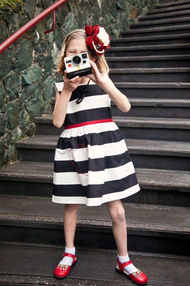 Girls Black and White Striped Dress with Stitched Heart Detail... Sizes 2T through 12. $58.00, via Etsy.