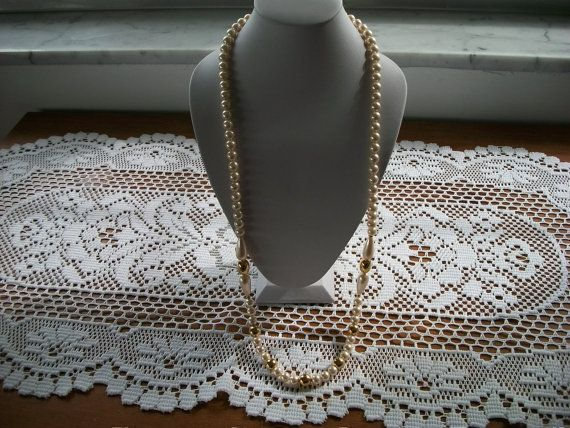 Napier Pearl and Goldtone Necklace by IsabelsVintage on Etsy, $22.00