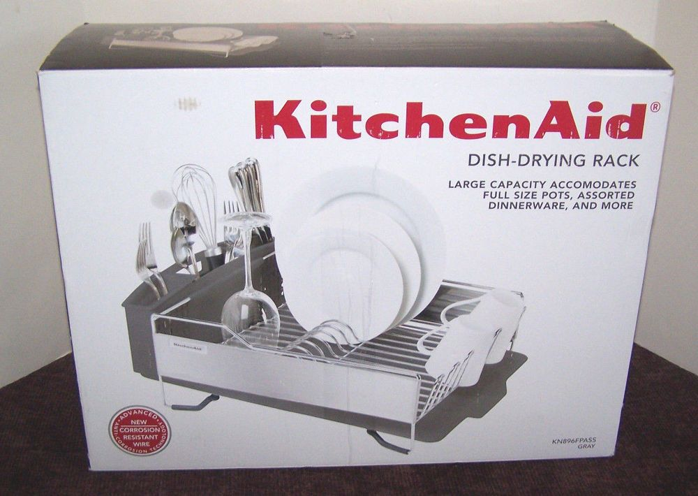 KitchenAid Dish Drying Rack KN896FPASS Gray Stainless Steel Large Capacity # KitchenAid
