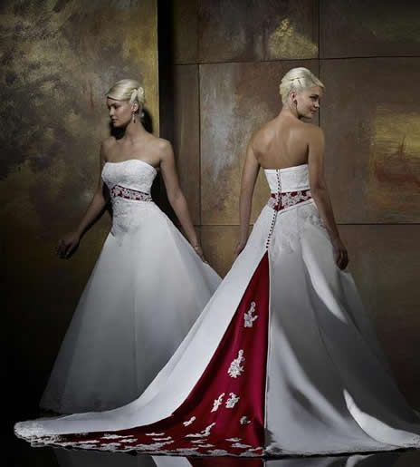 Red accent bridal gown | Weddings | Pinterest | Red accents, Bridal ...