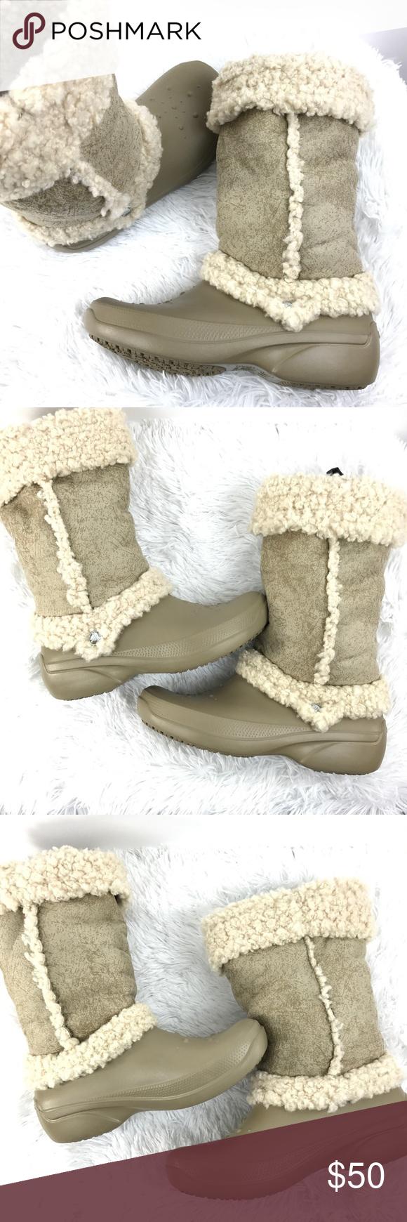 659e5fbc25a224 Crocs NADIA Khaki Winter Boots Sz 9 Faux Fur Crocs NADIA Khaki Tan Mid Calf  Winter
