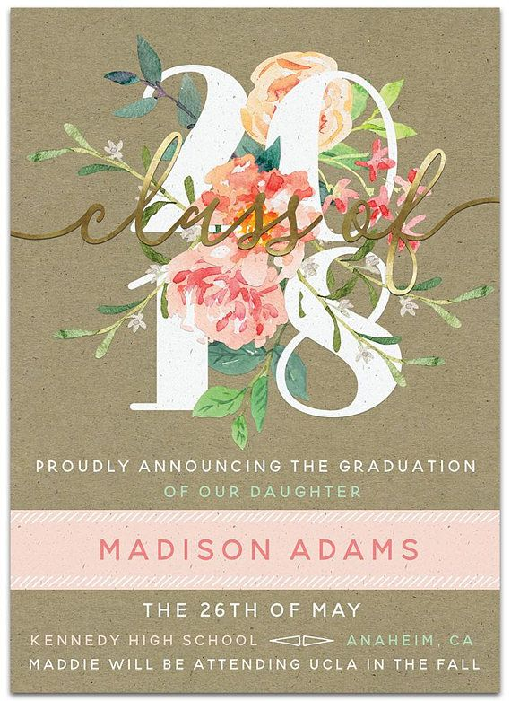 Floral and gold graduation invitation personalized graduation floral graduation announcement unique invitation design mintgold coral class of 2018 graduate graduation party invitation and graduation announcement filmwisefo