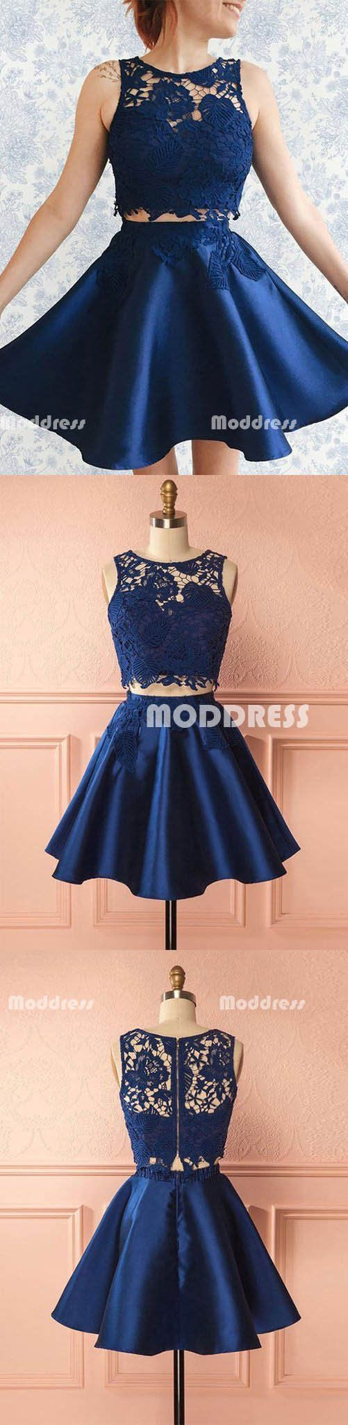 Blue lace pieces short homecoming dresses satin prom dresses knee