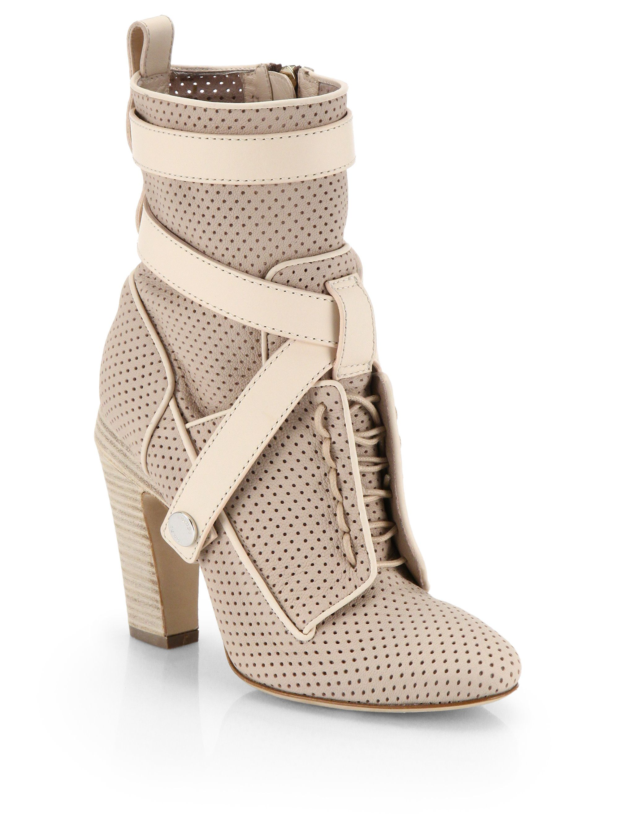 lace-up perforated boots - Grey Fendi RNr4U