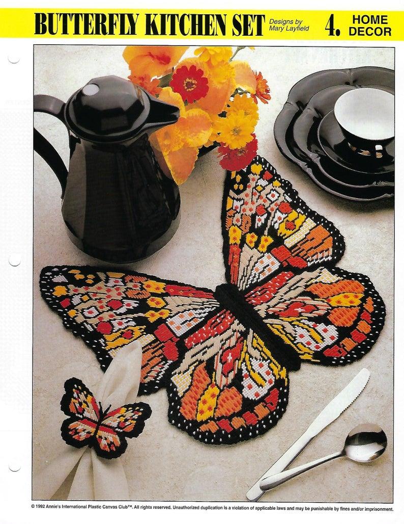 Butterfly Kitchen Set Plastic Canvas Pattern Kitchen Decor Etsy In 2021 Plastic Canvas Patterns Canvas Patterns Plastic Canvas