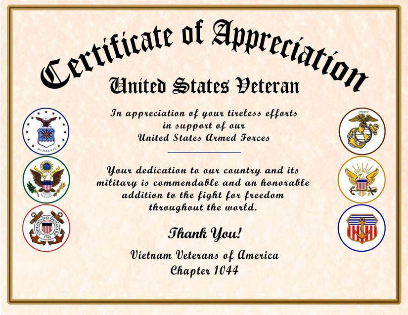 Comfortable Military Certificate Of Appreciation Veteran Certificate