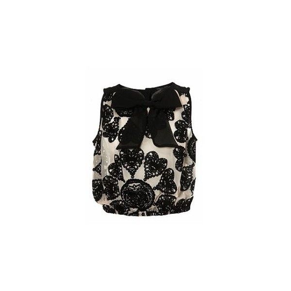 【LASO】Topshop Doily Heart Bow Top Black トップショップ ❤ liked on Polyvore featuring tops, blusas and topshop tops
