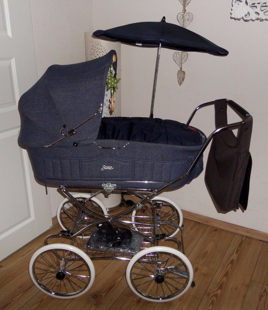 nostalgie kinderwagen streng hnl hesba 80er jeans denim rar vintage pram retro kinderwagen. Black Bedroom Furniture Sets. Home Design Ideas