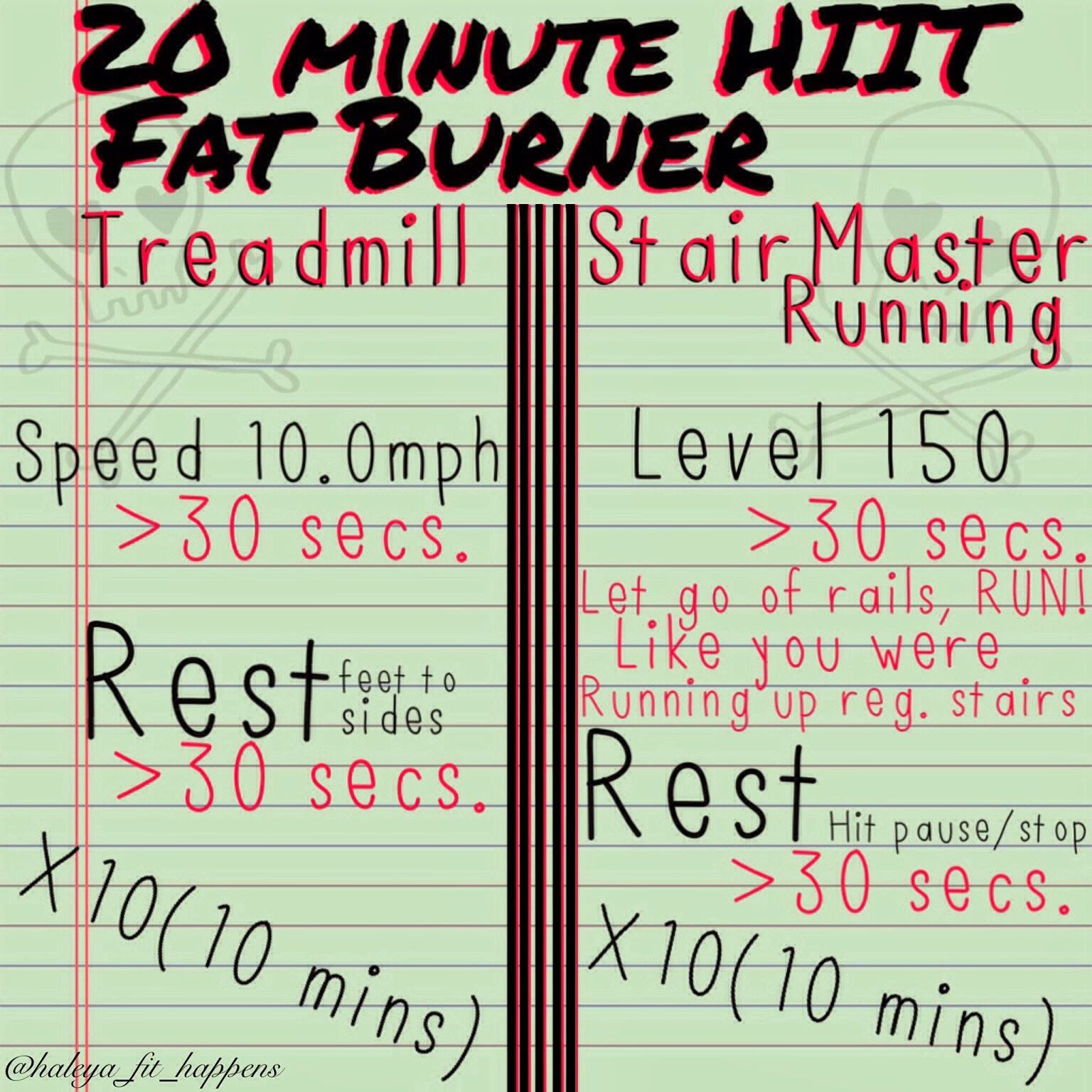 20 Minute At Home Cardio Workout 20 Minute Hiit Fat Burner Treadmill Stairmaster Ig Haleya