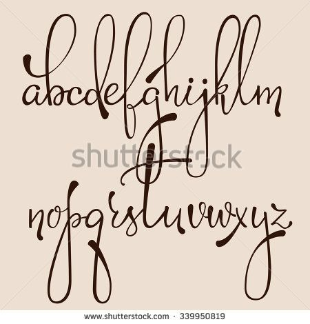 Handwritten Pointed Pen Ink Style Decorative Calligraphy Cursive Font Alphabet Cute Letters Isolated Letter Elements Typography