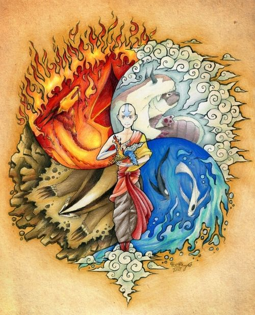 Aang in the Avatar State with Air, Earth, Fire and Water ...