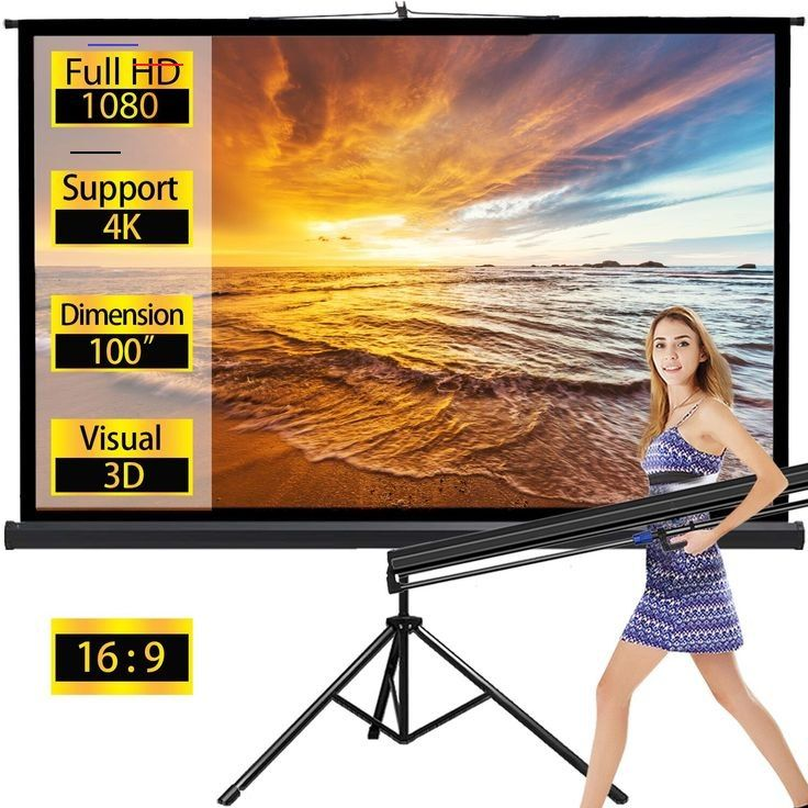 Projector Screen Tv Hd Large Movie Screen Theater Cinema Tripod Stand For Home Office Outdoor Indoor Fo In 2020 Outdoor Projection Screen Movie Screen Projector Screen