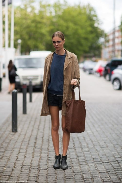 Trench with shorts.