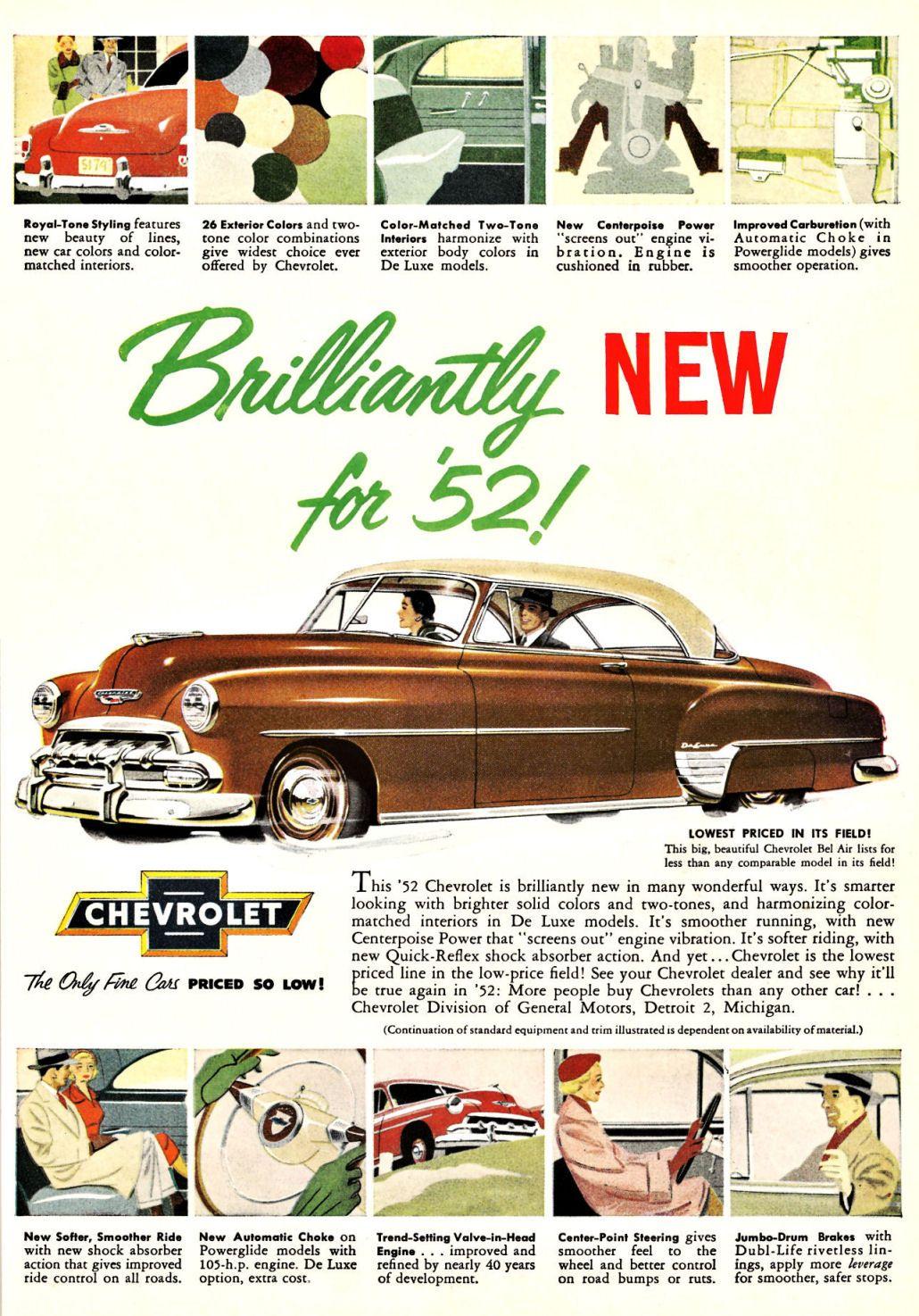 1952 Chevrolet Chevrolet, Automobile advertising, Car ads