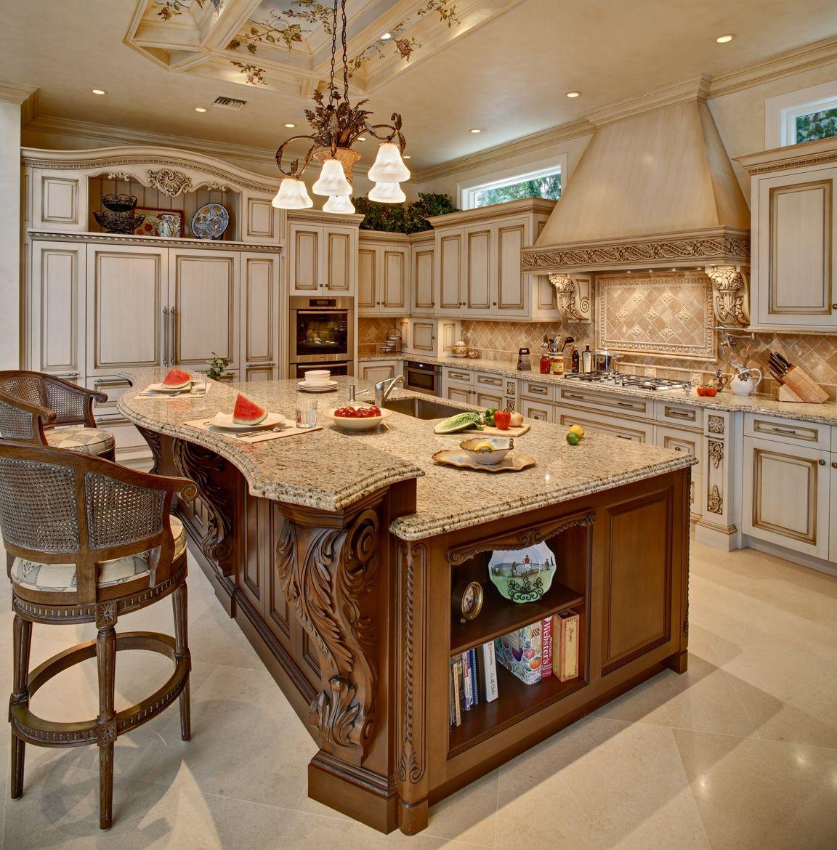 Ivory Glazed Kitchen Cabinets: Glazed Kitchen With A Mahogany Island