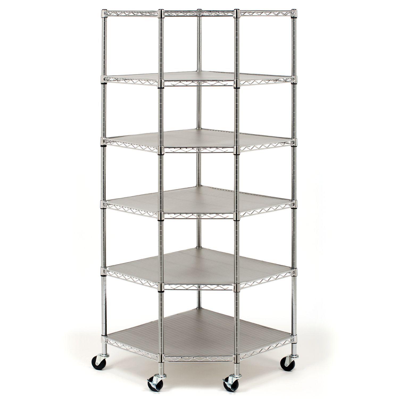 Seville Classics NSF-Certified Heavy-Duty Steel 6-Level Corner Shelf ...