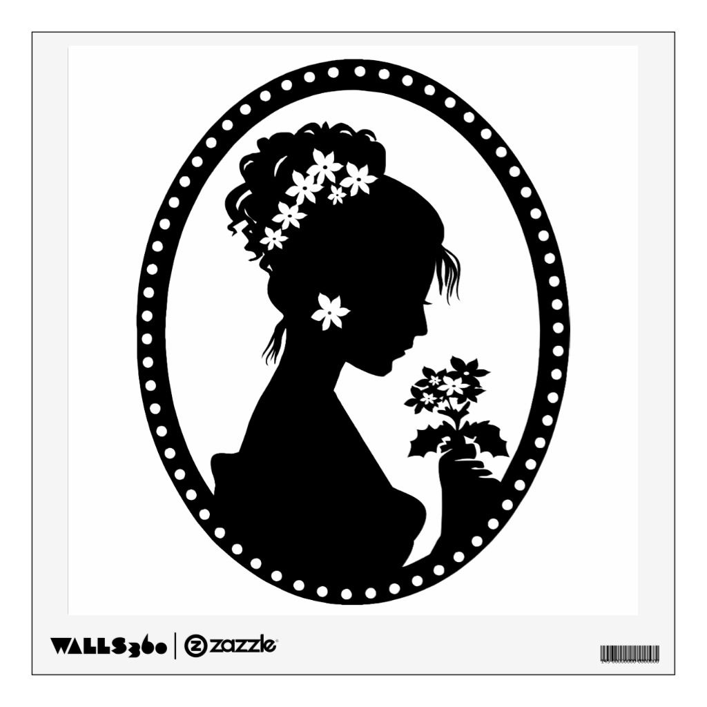 Victorian Cameo Silhouette Wall Sticker Zazzle Com In 2021 Silhouette Art Silhouette Stencil Art