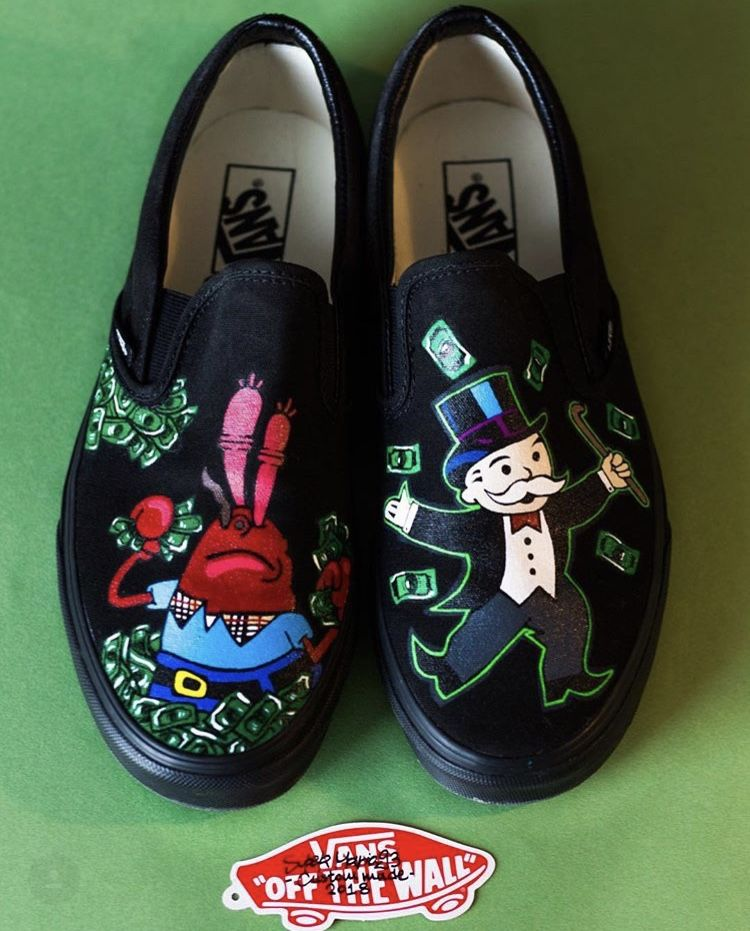 Custom to order Mr Monopoly X Mr Krabs Authentic Vans Slip-on available in  all 53d9dc5972