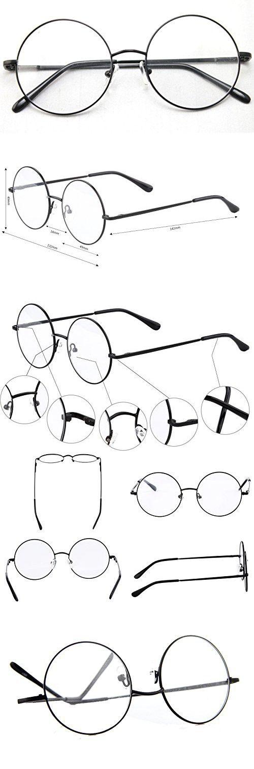 a14c2cabee Agstum Retro Round Prescription ready Metal Eyeglass Frame (Large Size)  (Black)