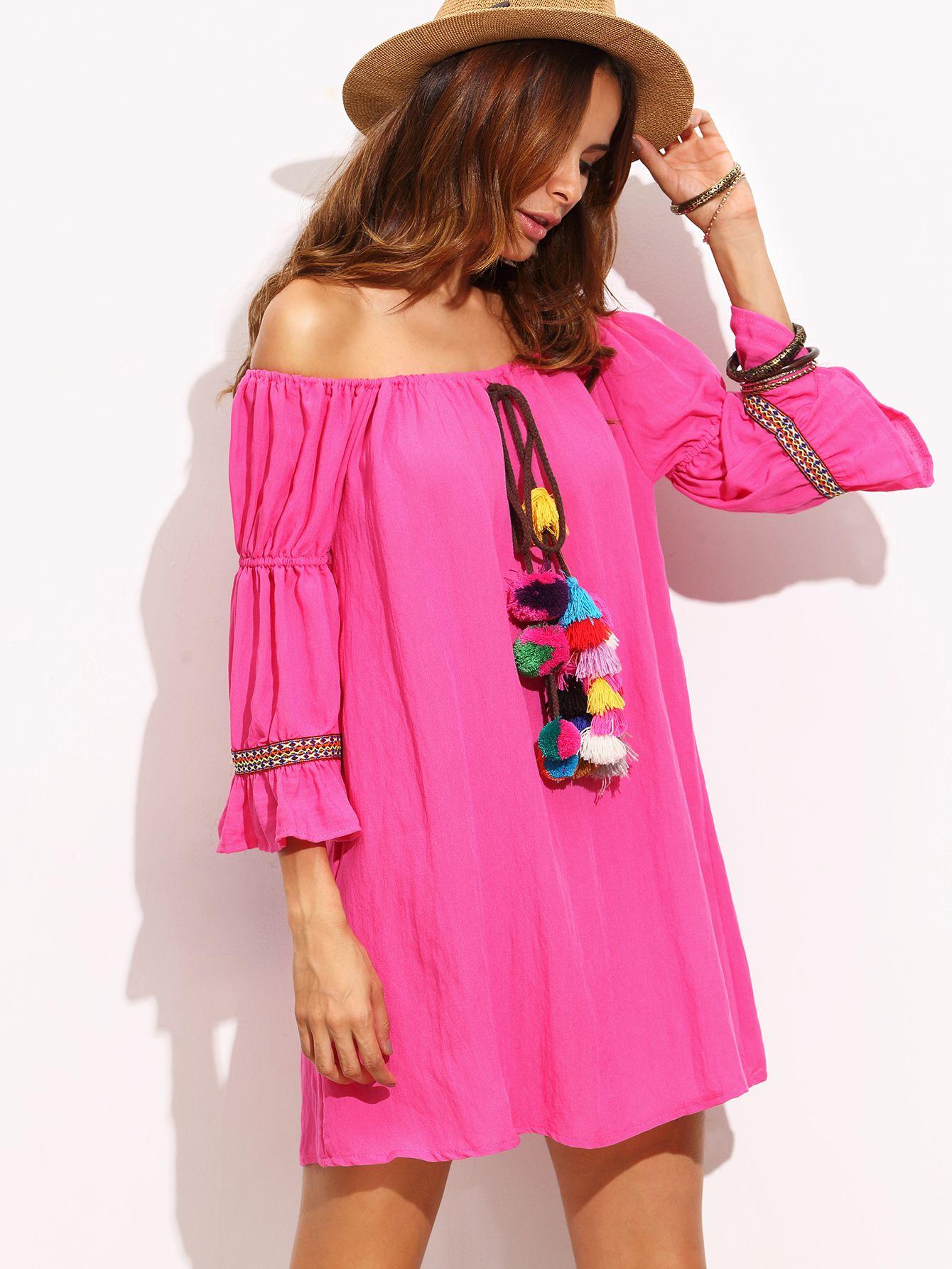 Schulterfreie kleid mit quaste rosa german shein sheinside 4 summer sommer kleider - Shein damenmode ...