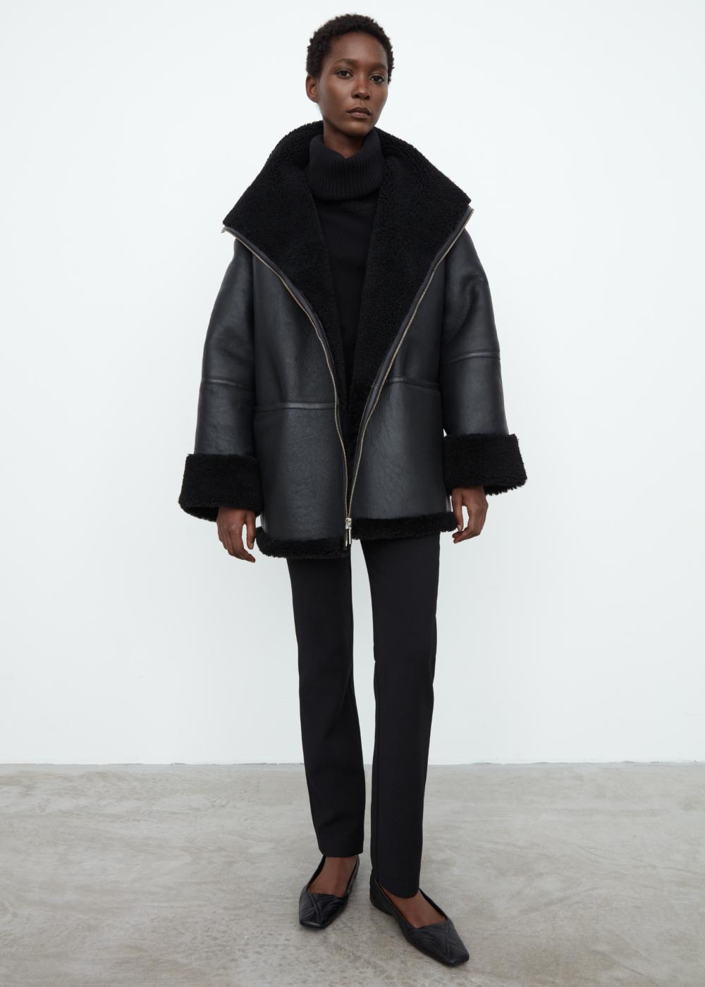 Menfi shearling jacket black Totême in 2020 | Shearling