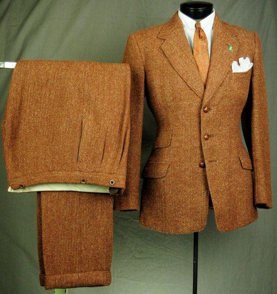 30s Caramel Orange Brown SB Tweed Suit - 40s Harris Tweed Herringbone