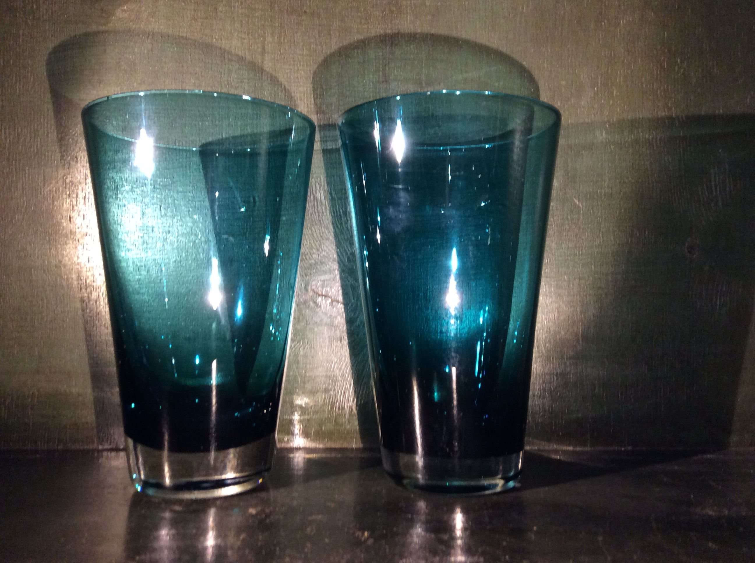 Pair of generous flared tumblers in mid aqua with clear bases. Cool G&T in the sunshine! Perfect order. Late.  B.G. 6022   £10