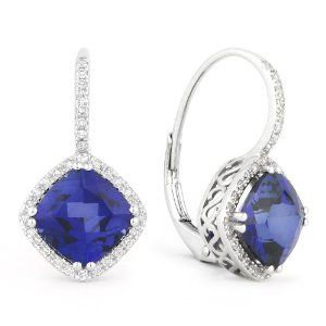 1.00 Ct Cute Belle Princess Princess Created Blue Topaz Stud Earrings IN 14k White Gold Finish