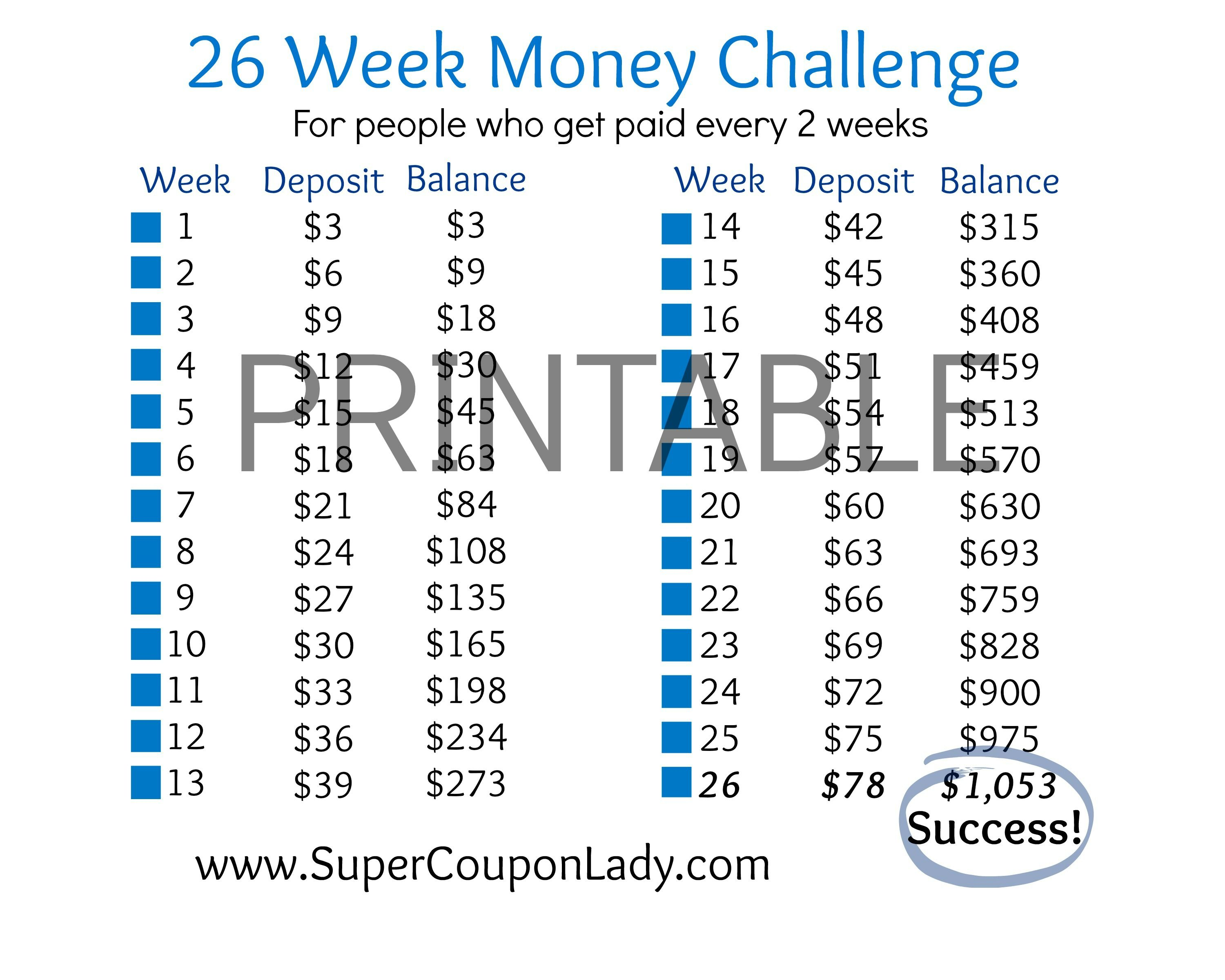 26 week money challenge for people who get paid every 2 for How to save for a house in 1 year