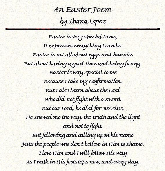 Short Easter Poems For Kids Children Sunday School Church