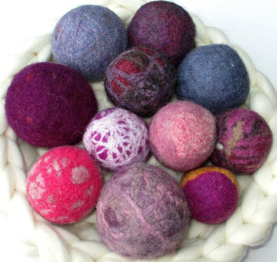 FiberQuirks Oddballs: Set of Felted Wool Balls in Pink and Purple for Photo Props, Toys, Craft Projects, Decor