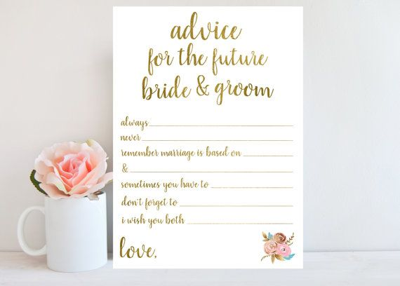 advice for the bride and groom bridal shower game printable wedding advice cards