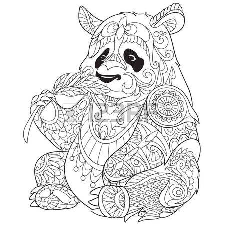 pandas stylized cartoon panda Illustration  Coloring  Pinterest